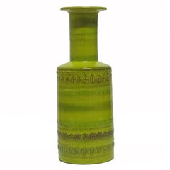 Aldo Londi Bitossi Ceramic Vase Chartreuse Signed Italy, 1960s