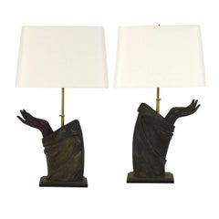 Pair of Sculptural French Bronze Hand Arm Lamps