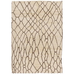 21st Century Contemporary Ivory/Brown Moroccan Rug