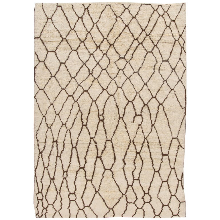 Contemporary Ivory and Brown Moroccan Rug