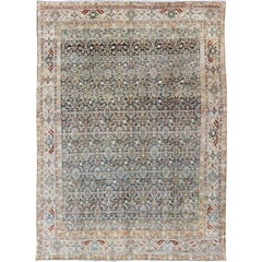 Persian Malayer Rug with Exquisite Design in Blue, Ivory, Cream and Red