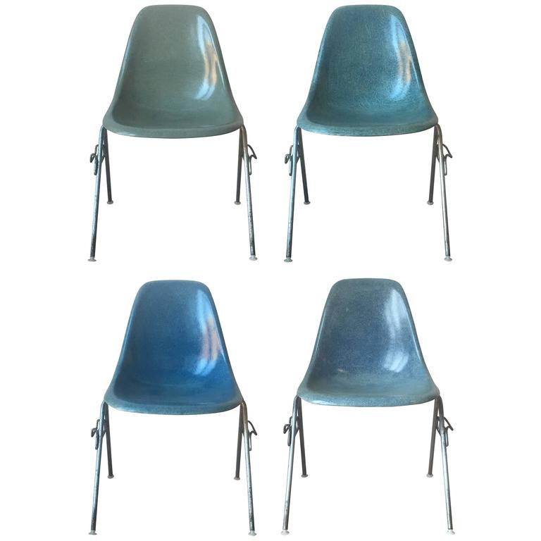 Four Rare Color Herman Miller Eames Chairs For Sale