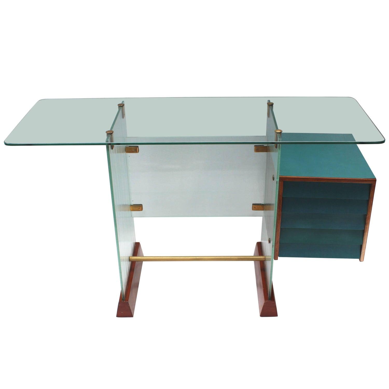 Gio Ponti Glass Desk For Sale at 1stdibs