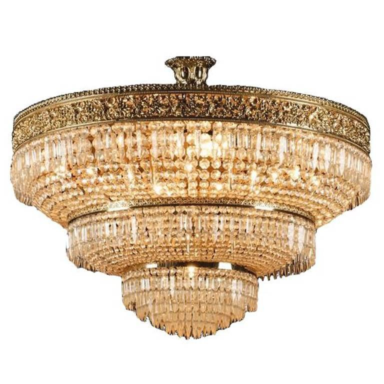 Italian Cut Crystal and Gilt Bronze Chandelier