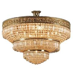 Italian Cut Crystal and Gilt Bronze Chandelier, Mid-Century Modern
