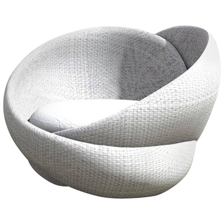 Contemporary Rattan Indoor-Outdoor Armchair and Footrest/Ottoman, Cushions in Sunbrella  For Sale