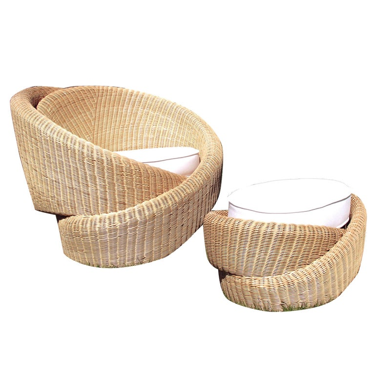 Rattan Indoor-Outdoor Armchair and Footrest/Ottoman, Cushions in Sunbrella  For Sale