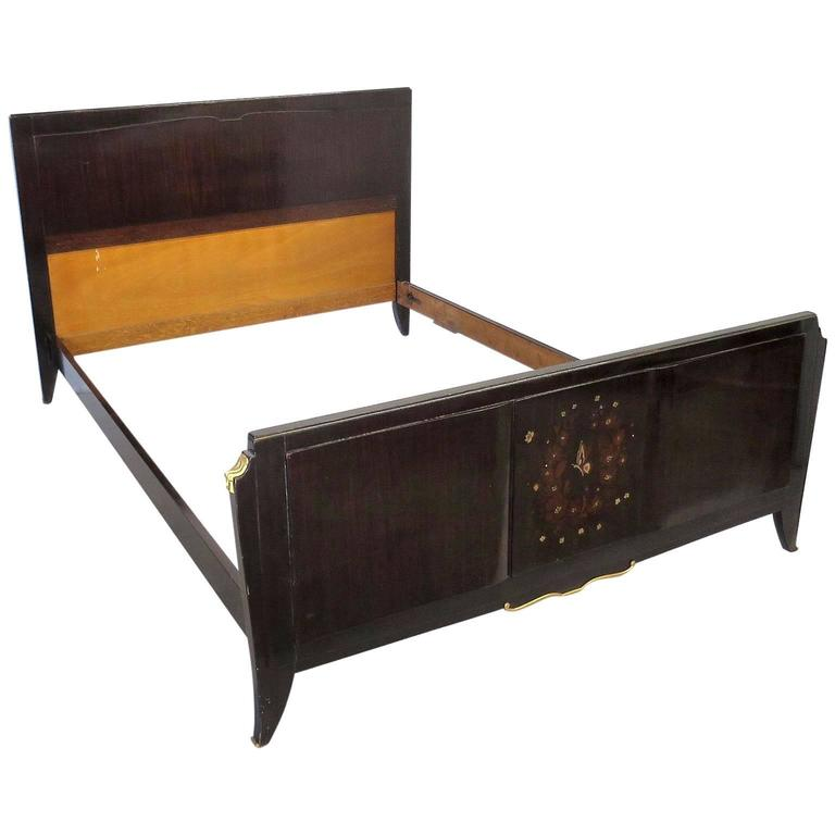 French Art Deco Bed Attributed to Jules Leleu in Rosewood