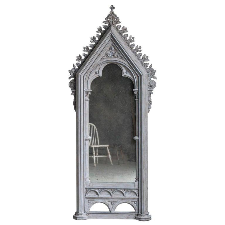 Tall Antique German Painted Mirror circa 1820 Enclosing an Antiqued Mirror