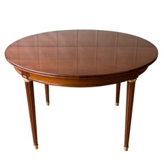 French Mahogany Dining Table with Two Leaves