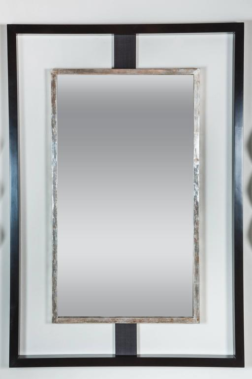 Paul Marra Negative Space Mirror with Distressed Silver Inner Frame 2