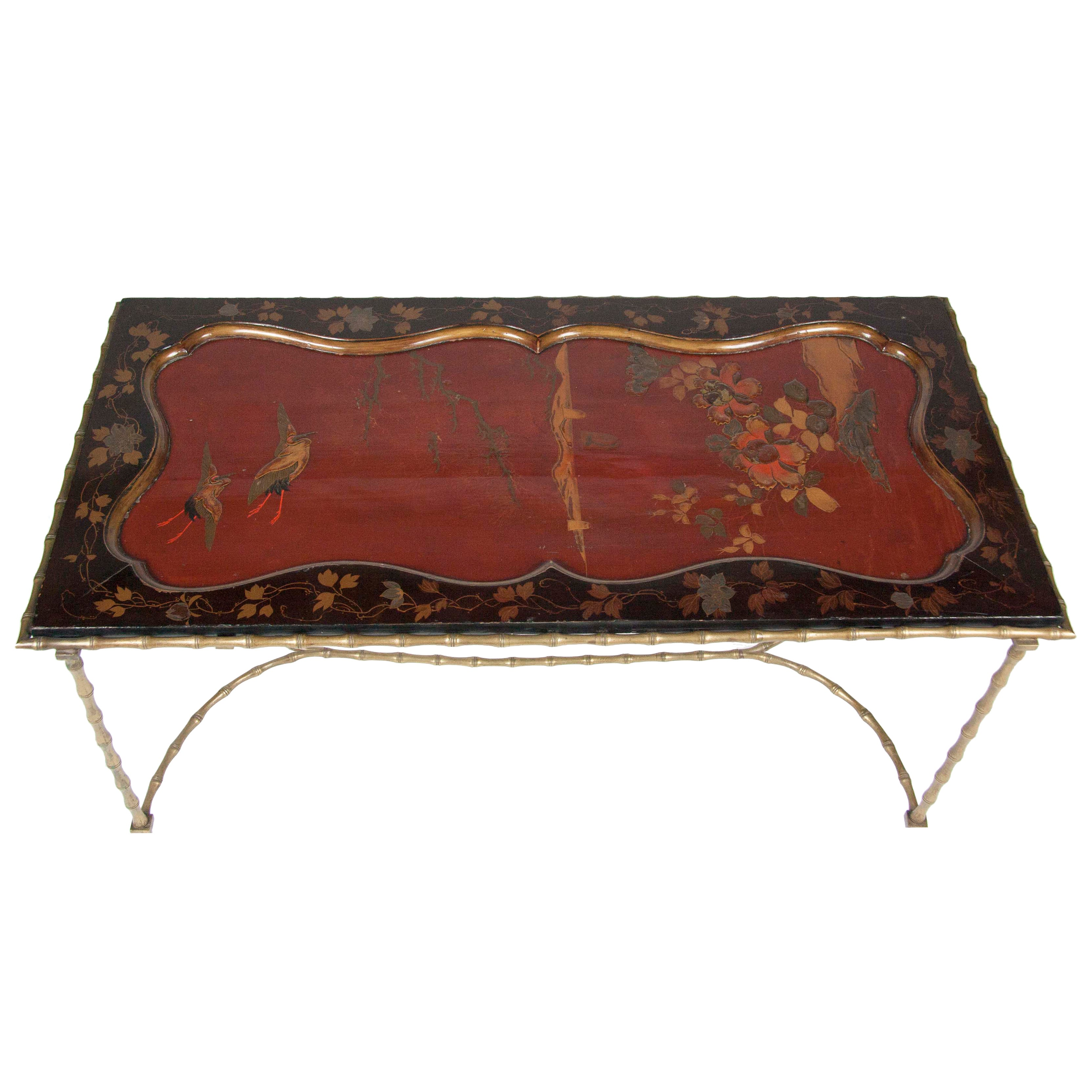 Cocktail Table with Japanese Lacquered Top and Bagues Brass Base