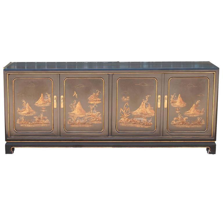 John Widdicomb Asian Modern Cabinet or Sideboard, Buffet Gold Relief