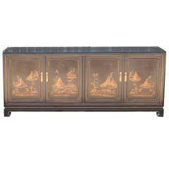 John Widdicomb Asian Modern Cabinet or Sideboard, Buffet Gold Relief