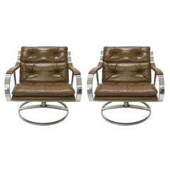 Pair of Wide Lounge Chairs by Gardner Leaver for Steelcase, USA 1970s