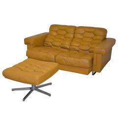 Vintage De Sede DS-P Reclining Sofa in Cognac Leather, 1970s