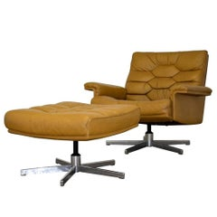 Vintage de Sede DS 35 Swivel Armchair and Ottoman by Robert Haussmann, 1970`s