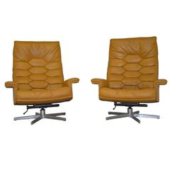 Vintage De Sede Ds 35 Executive High Back Swivel Armchairs, 1970s