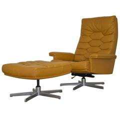 Vintage De Sede DS 35 Highback Executive Swivel Armchair and Ottoman 1970s