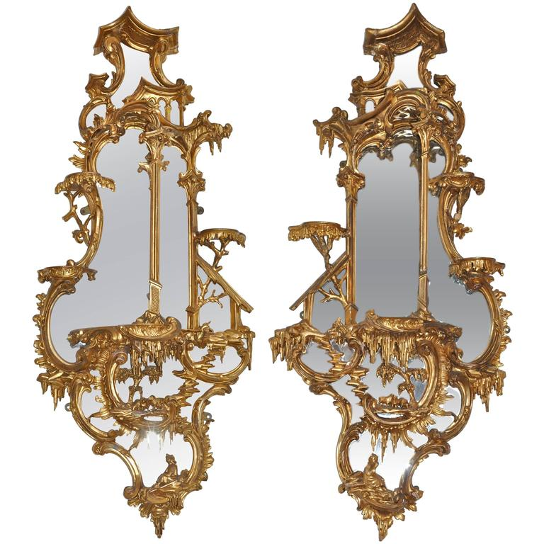 Pair of 18th Century Girandole Mirrors Attributed to Thomas Johnson