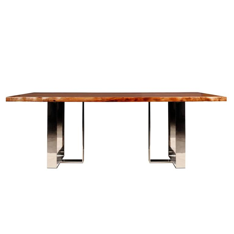 Studio Roeper Modern Chic Dining Table with Walnut Top and Polished Nickel Legs