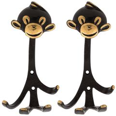 Monkey Coat Wall Hook Hanger Blackened Brass by Walter Bosse, Austria, 1950
