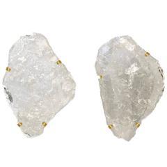 Pair of Natural Rock Crystal Quartz Sconces