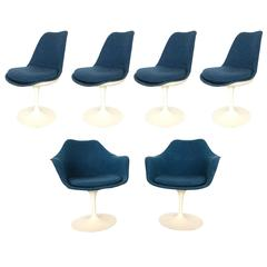 Set of Six Eero Saarien Fully Upholstered Chairs for Knoll Two-Arm four Side