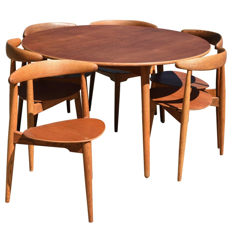 "Hans J. Wegner ""The Heart Set"" Dining Room Set with Six Chairs"