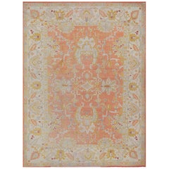 Late 19th Century Hand-Woven Oushak Wool Rug from West Anatolia