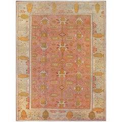 Hand-Woven Turkish Late 19th Century Wool Oushak Rug