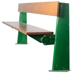 Jean Prouve Green Lacquered Steel and Oak Folding Bench, 1958