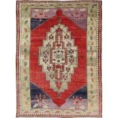 Vintage Turkish Oushak with Bright Red Field and Sub-Geometric Designs