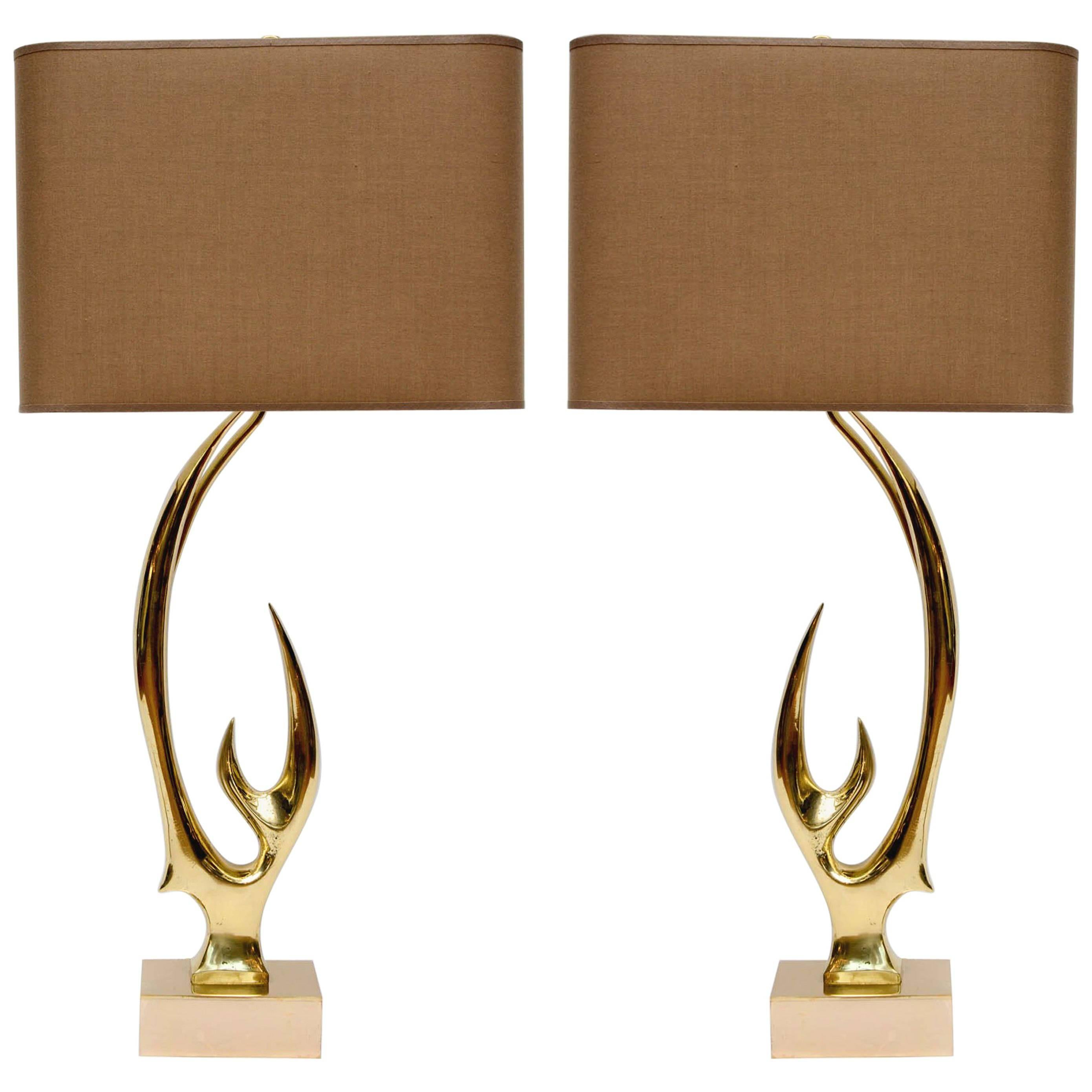 Pair of Brass Lamps Signed by Willy Daro