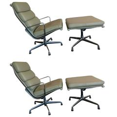 Eames Soft Pad Aluminium Group Lounge Chairs with Ottomans, Pair, Herman Miller