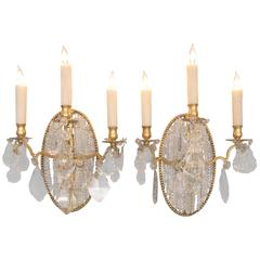 Pair of Early 19th Century Italian Neoclassical Crystal Medallion Back Sconces