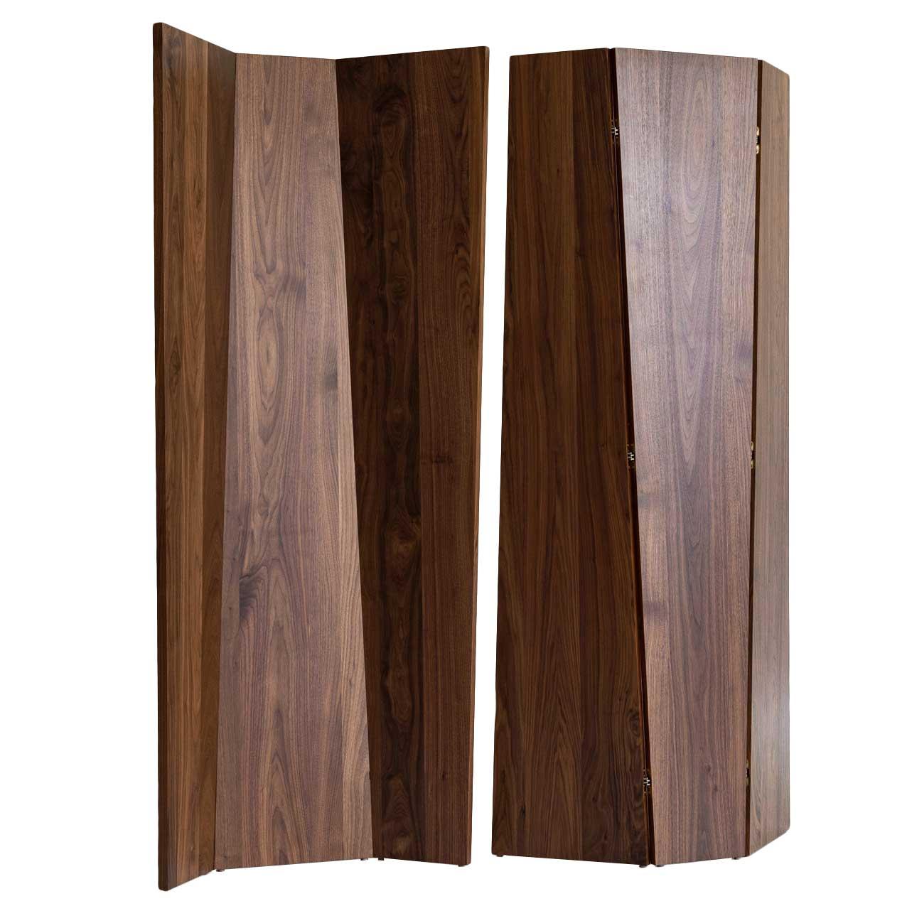 Handmade Tri-Fold Solid Walnut Folding Screen or Room Divider