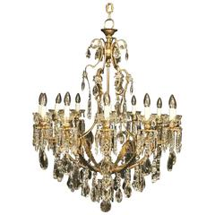 French Gilded Bronze and Crystal Twelve-Light Chandelier