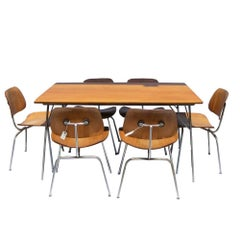"""Early Herman Miller Eames 54"""" W DTM-20 Dining Table 6 DCM Chairs"""