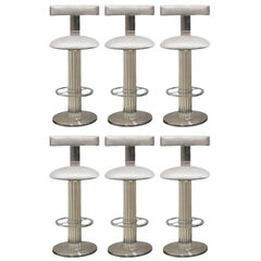 Designs for Leisure Bar Stools Nickel Steel Silver Upholstery, USA, 1980s