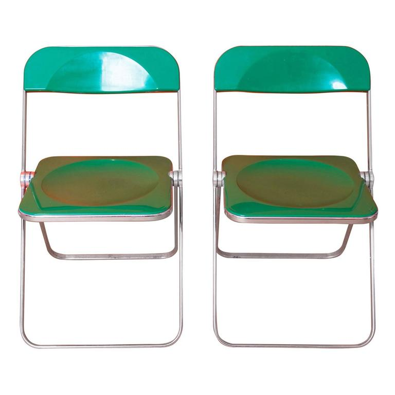Giancarlo Piretti, Rare Pair of Green 'Plia' Folding Chairs For Sale