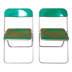 Giancarlo Piretti, Rare Pair of Green 'Plia' Folding Chairs