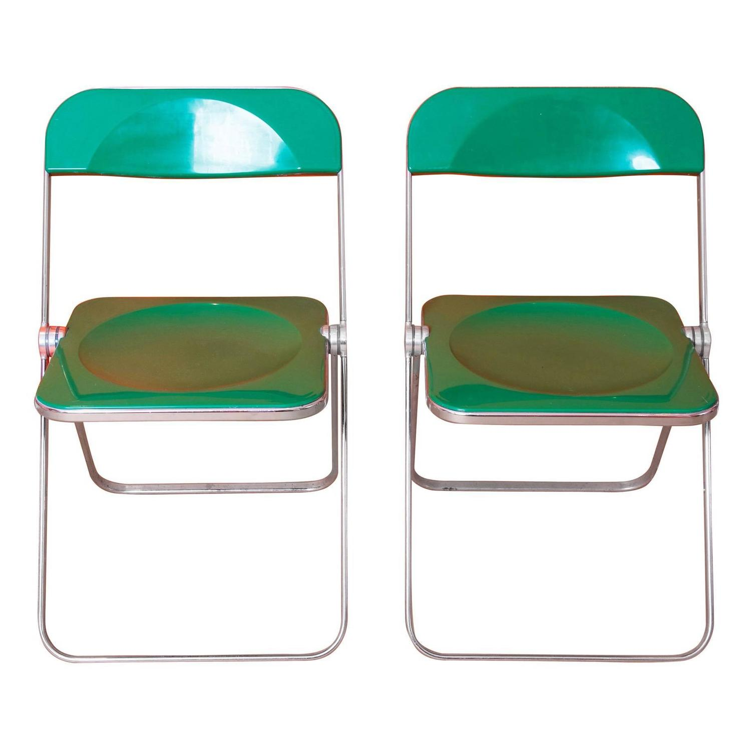 Castelli Style Chrome and Cane Pair of Folding Chairs at 1stdibs