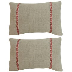 Pair of 19th Century Petite French Linen Decorative Lumbar Pillows