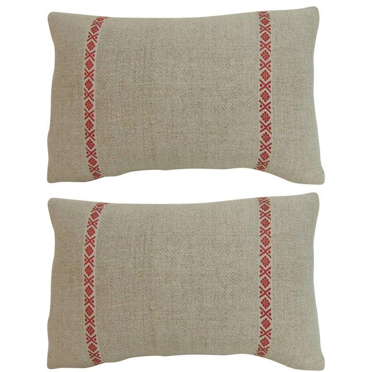 Pair of 19th Century Petite French Linen Decorative Lumbar Pillows