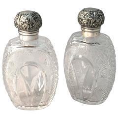 English Crystal Bottles with Sterling Silver Tops, circa 1889