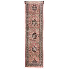 Silk Persian Qum Carpet Runner in Pink, Long Persian Silk Runner