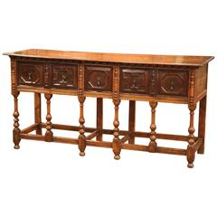 19th Century English Chestnut and Oak Eight-Leg Console Table with Three Drawers