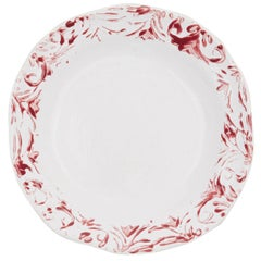 Hand Printed Red and White Dessert Plates, Set of Four