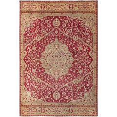Large Antique Amritsar/ Agra Carpet with Floral Design in Tones of Red and Green